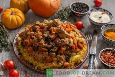 Truputį pilafą su moliūgų ir mėsos gabaliukais Azerbaidžano stiliumi