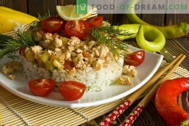 Vištienos filė su ryžiais ir daržovėmis korėjiečių kalba