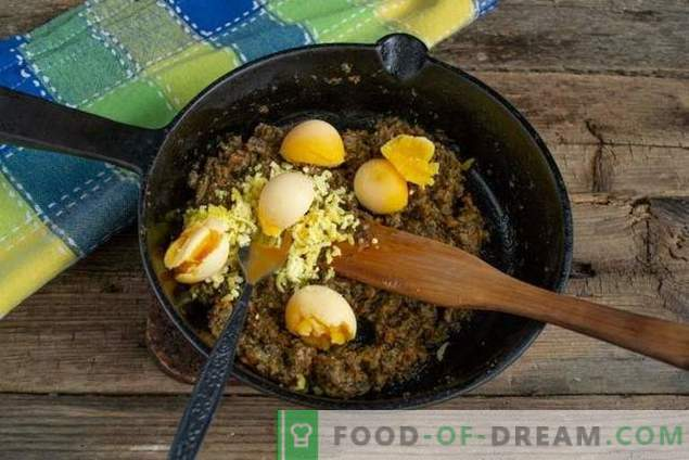 Paprastas kiaušinių užkandis su grybų pyragu