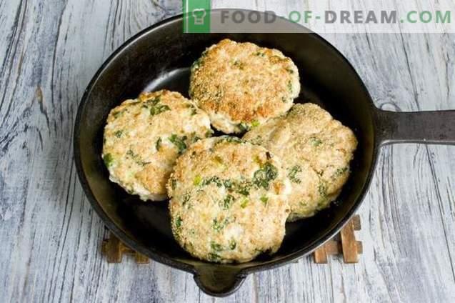 Chuletas de filete de pollo con espinacas y salvado de avena