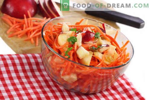 Morkų ir obuolių salotos - geriausi receptai. Kaip tinkamai ir skaniai paruošti morkų ir obuolių salotą.
