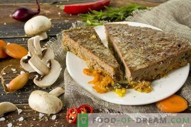 pâté de foie de boeuf avec champignons et légumes au four