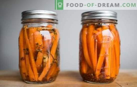 Salotos ir marinuotų morkų šoniniai patiekalai su česnakais. Užkandžiai, stalui ir žiemai - marinuoti morkos su česnaku