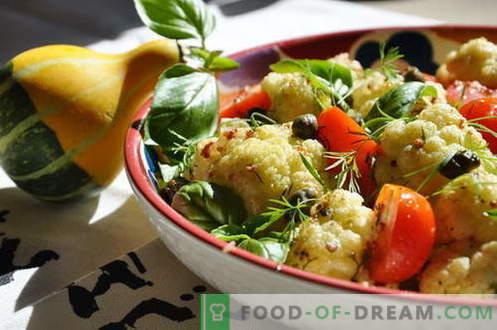 Žiedinių kopūstų salotos - geriausi receptai. Kaip tinkamai ir skaniai virti žiedinių kopūstų salotos.