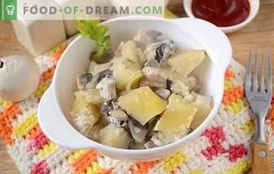 Potatis med svamp i ugnen med gräddfil - en aromatisk och näringsrik maträtt. Författarens steg för steg fotrecept av bakade potatis med svamp