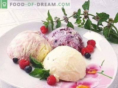 Glace artisanale. Crème glacée aux baies