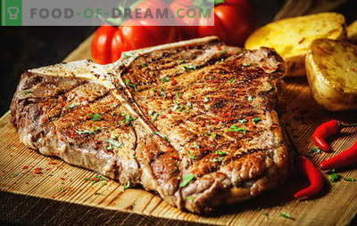 How to fry a steak to make it perfect. How much to fry it in a pan, grill or coals, pickles and sauces to it