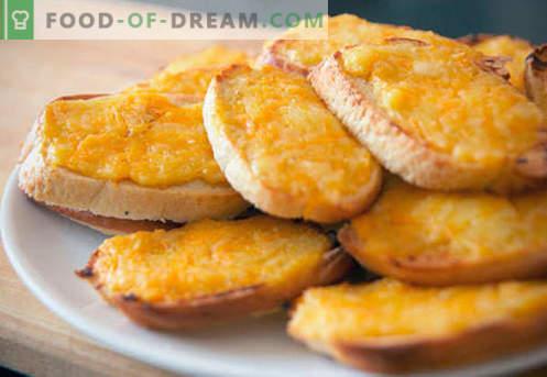 Krutonai su sūriu - geriausi receptai. Kaip tinkamai ir skaniai virti krutonai su sūriu.