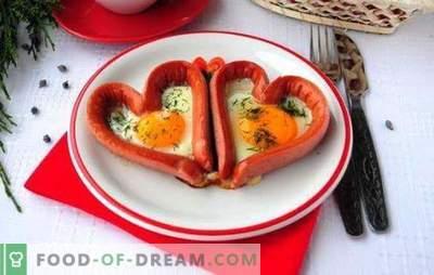 Kepti kiaušiniai su dešrelėmis - skanūs, patenkinami, romantiški! Įvairių kepti kiaušiniai su dešrelėmis receptai: širdys, sumaišyti, kepti kiaušiniai