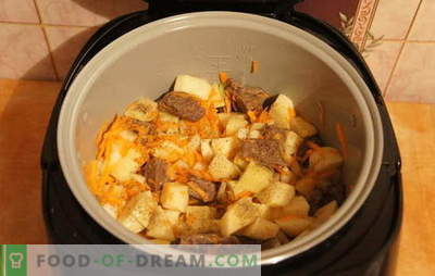 Stewed potatoes with meat in the slow cooker: rest! Recipes for stewed potatoes with meat in a slow cooker: simple and complex