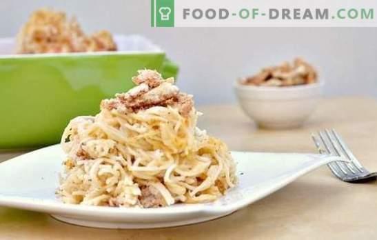Makaronai su grybais grietinėlės padaže - aromatinis patiekalas kiekvieną dieną. Geriausių makaronų su grybais receptų pasirinkimas grietinėlės padaže