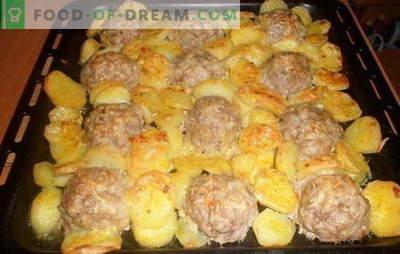 Mėsos riešutai su bulvėmis - kulinarinis produktas. Geriausi mėsos gabaliukai su bulvėmis: su pomidorais, daržovėmis, sūriu, grietine