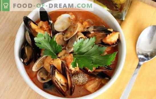 Jūros gėrybių sriuba: midijos, krevetės, kalmarai, aštuonkojai. Receptai virti sriubą su jūros gėrybėmis kiekvienam skoniui