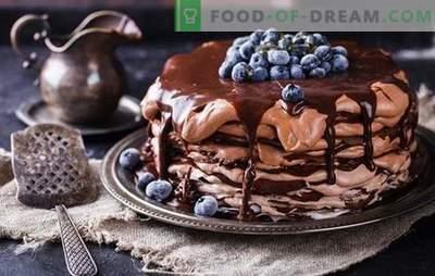 Šokolado blynų pyragas - patiekalas iš visos! Paprastų ir švenčių šokolado blynų pyragaičių receptai su skirtingais kremais