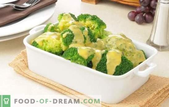 Brokoliai grietinėlės padaže su muskato riešutais, sūriu, grybais. Receptai virti ir kepti brokoliai grietinėlės padaže