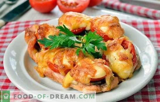 Vištienos gabaliukai orkaitėje - išskirtinai skanūs! Vištienos pjaustymas viryklėje su grybais, daržovėmis, sūriu