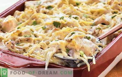 Vištiena yra greita ir nebrangi vakarienė. Kaip gaminti spageti su vištiena visos šeimos džiaugsmui: geriausius receptus