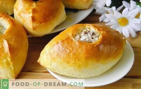 Ryžių pyragai - skanūs Rusijos pyragaičiai. Receptai pyragams su ryžiais, žaliais svogūnais, žuvimi, malta mėsa ir grybais