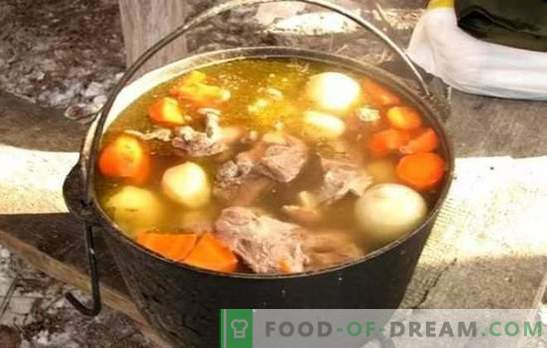 Shurpa in a cauldron is the most delicious soup! Cooking an amazing shurpa in an oriental cauldron with lamb, pork, beef and chicken