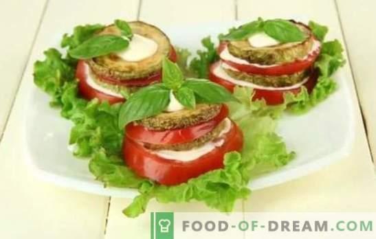 Cukinijos užkandžiai su pomidorais - originalus patiekalas, pagamintas iš paprastų produktų! Įrodyti cukinijų užkandžiai su pomidorais: kepti, užvirinti ir kepti