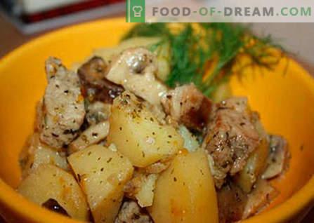 Bulvės su mėsa ir grybais yra geriausi receptai. Kaip tinkamai ir skaniai virti bulves su mėsa ir grybais.