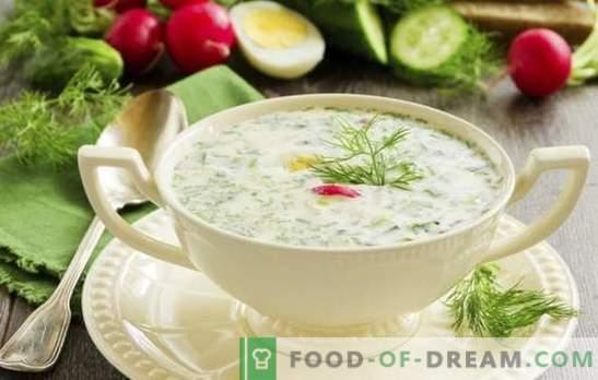 Okroshka - įdegis - šviežumas su rūgštumu. Receptai skaniai šaltajai sriubai: okroshka ant tan su mėsa, dešra, jūros gėrybėmis
