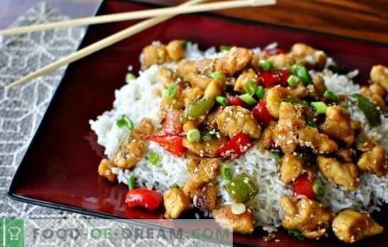 Šiek tiek fantazijos: vištienos filė su ryžiais yra skanesnė nei delikatesų. Šviesos vištienos filė su ryžiais ir grietine, pupelėmis ir grybais
