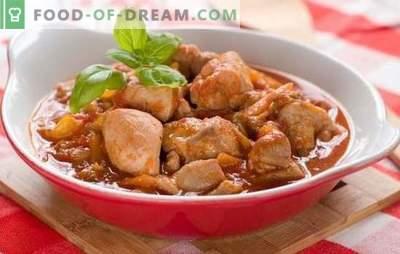 Vištienos filė guliašas yra įspūdingas! Įvairių rūšių vištienos gulašas su padažu ant grietinės, pomidorų, grietinėlės ir grybų