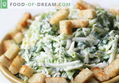 Salad with cabbage and crackers - a selection of the best recipes. Cooking delicious cabbage salads with crackers.