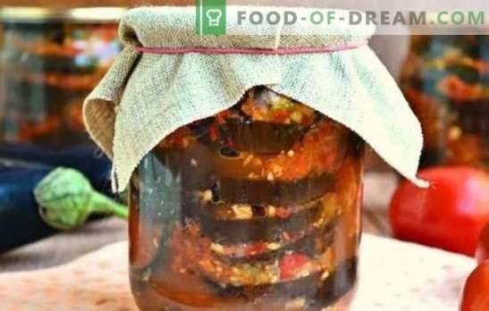Aštrūs baklažanų užkandžiai žiemai: salotos, saute, Ogonyok. Baklažanų užkandžių veislės žiemai su pomidorais