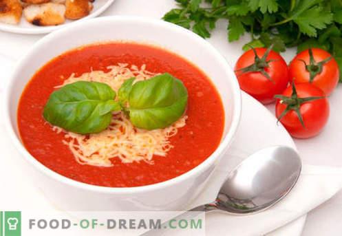 Pomidorų grietinėlės sriuba - įrodyta receptai. Kaip tinkamai ir skaniai virti pomidorų tyrės sriuba.