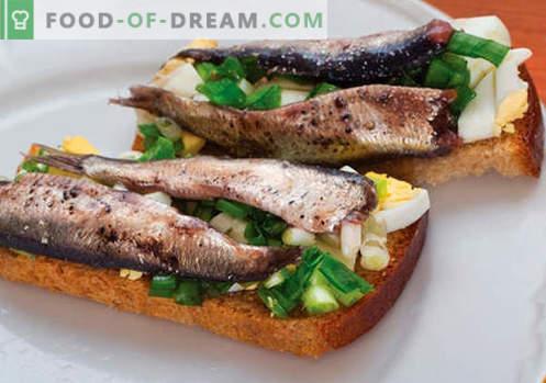 Šprotų sumuštiniai yra geriausi receptai. Kaip greitai ir skaniai virti sumuštinius su šprotais.