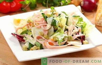 Salotos su kumpiu ir sūriu - užkandis, šalutinis patiekalas arba atskiras patiekalas? Salotų su kumpiu ir sūriu gamybos, pildymo ir aptarnavimo taisyklės