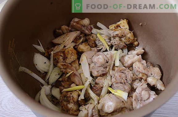 Ensopado de frango com cogumelos: nutritivo e perfumado! Receita do autor passo a passo de cozinhar frango rápido com cogumelos em um fogão lento