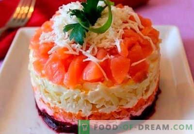 Salotos sluoksniuotos su lašiša - tinkami receptai. Greitai ir skaniai virti salotos sluoksniais su lašiša.