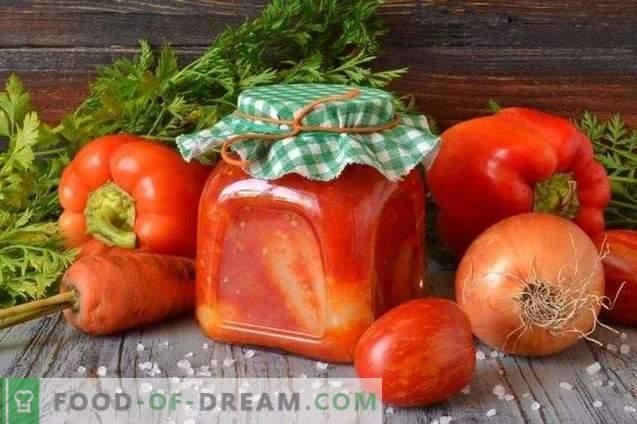 Įdaryti pipirai pomidorų padaže žiemai