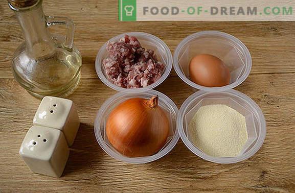 Mėsos kamuoliukai keptuvėje: mėsos rutuliukai makaronams, grūdams, daržovėms ir bulvių koše. Pusiau valandos