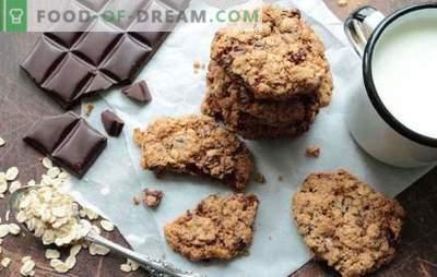 Šokoladiniai avižiniai pyragaičiai - greiti pyragaičiai. Receptai trapios avižiniai sausainiai su šokolado avižomis ir miltais
