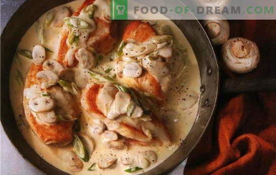 Geriausi vištienos filė receptai grietinėlės padaže. Kaip virti vištienos filė kreminiu padažu keptuvėje ir orkaitėje