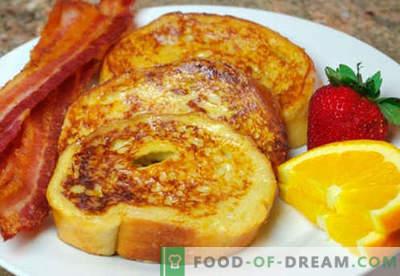 Kiaušinių skrudinta duona - geriausi receptai. Kaip tinkamai ir skaniai virti kiaušinius su kiaušiniais.
