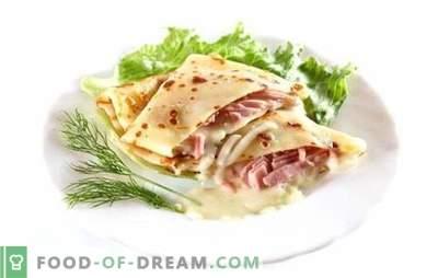 Blynai su kumpiu ir sūriu - yum-yum! Skanių blynų su kumpiu ir sūriu receptas: kepti, įdaryti, su smaigaliu