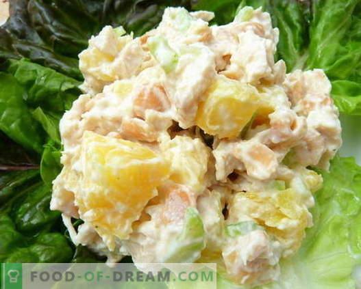 Салата от пиле, ананас и гъби са най-добрите рецепти. Как да правилно и вкусно да се подготви салата с пиле, ананас и гъби