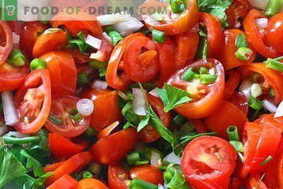 Pomidorų salotos yra geriausi receptai. Kaip tinkamai ir skaniai virti salotas iš pomidorų.