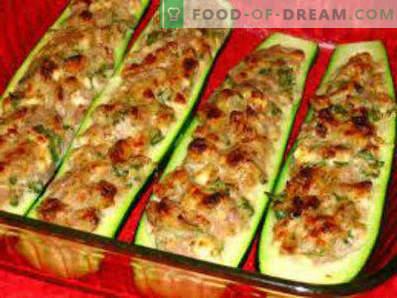 Cukinijos, įdarytos orkaitėje kepta mėsa, gaminant receptus