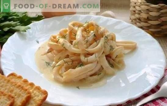 Kalmarai grietinėlės padaže - švelniausias derinys! Sultingų kalmarų receptai grietinėlės padaže su sūriu, grybais, vynu, alyvuogėmis, pomidorais