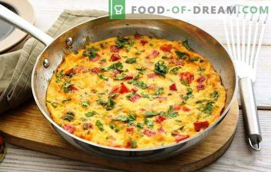 Omletas su kumpiu - gausus skanus pusryčiai skubėti. Geriausi omleto su kumpiu, sūriu, daržovėmis, prieskoniais receptai