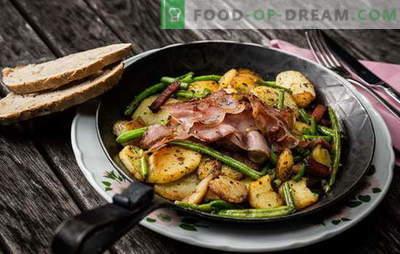 Bulvės su mėsa keptuvėje - tradicija! Geriausi kepti bulvių receptai su mėsa keptuvėje: su malta mėsa, grietine, daržovėmis