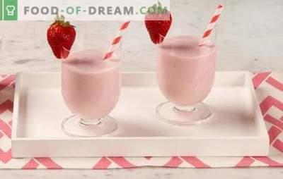 Strawberry Smoothies - tai skanus gėrimas! Kaip padaryti, kad braškių kokteiliai su grietinėlės, mėtų, bananų, medaus, ledų?
