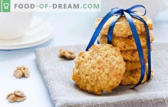 Como fazer biscoitos de aveia sem adicionar ovos? Vamos assar biscoitos de aveia sem ovos com sementes, mel, geléia, maçãs