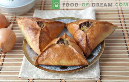 Trikampiai su mėsa ir bulvėmis - tataras Echpokhmakas arba Samsa? Trikampių receptai su skirtingos tešlos mėsa ir bulvėmis